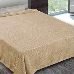 Κουβέρτα Βελουτέ Υπέρδιπλη Adam-Home interweaving beige