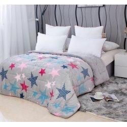 Κουβερτοπάπλωμα Μονό Stars 035 Silver-Pink